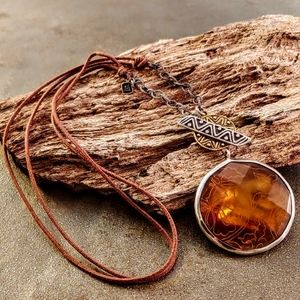 Silpada Sterling Faceted Carmel MOP Cord Necklace